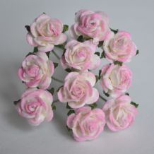 1 cm ROSY PINK CENTER Mulberry Paper Roses
